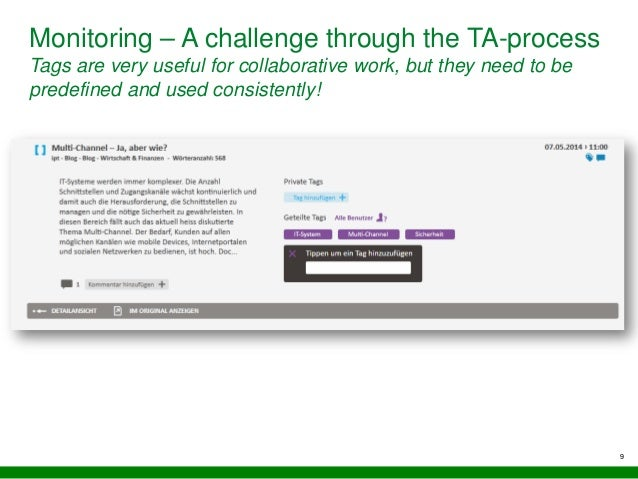 9 Monitoring – A challenge through the TA-process Tags are very useful for collaborative work, but they need to be predefi...