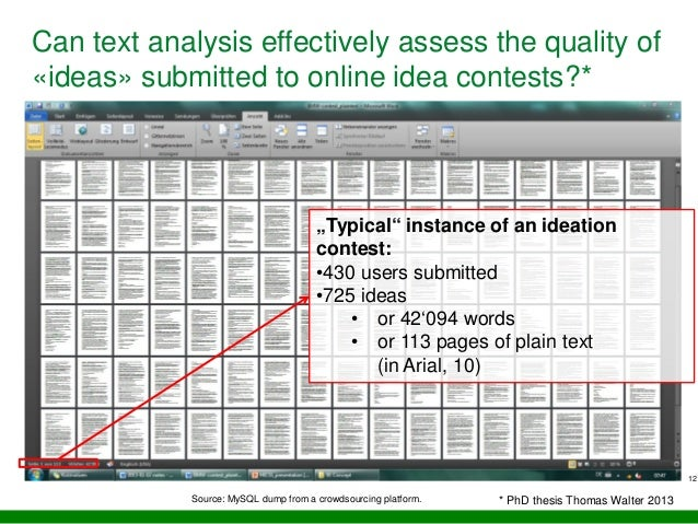 """12 Can text analysis effectively assess the quality of «ideas» submitted to online idea contests?* """"Typical"""" instance of a..."""