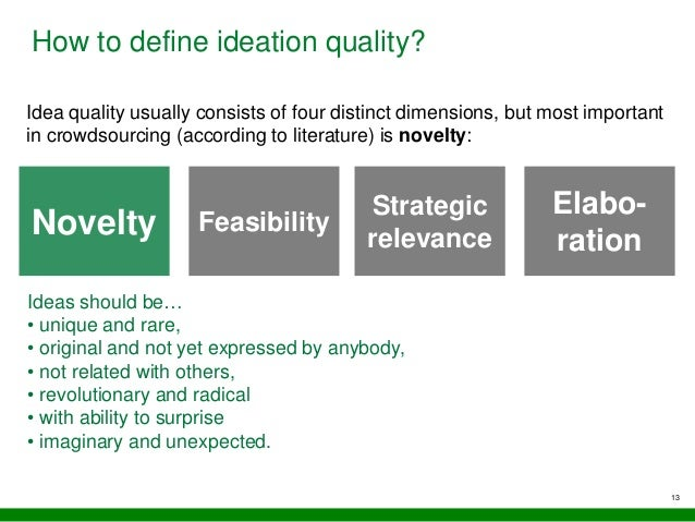 13 How to define ideation quality? Idea quality usually consists of four distinct dimensions, but most important in crowds...