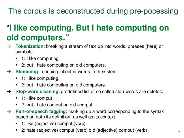 """""""I like computing. But I hate computing on old computers.""""  Tokenization: breaking a stream of text up into words, phrase..."""
