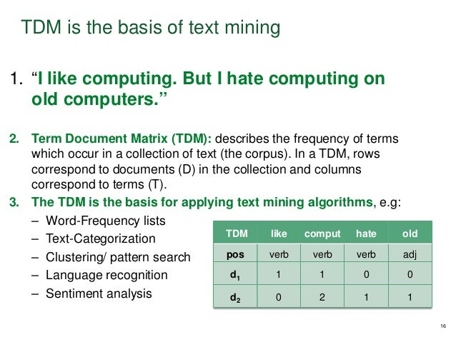 """1. """"I like computing. But I hate computing on old computers."""" 2. Term Document Matrix (TDM): describes the frequency of te..."""