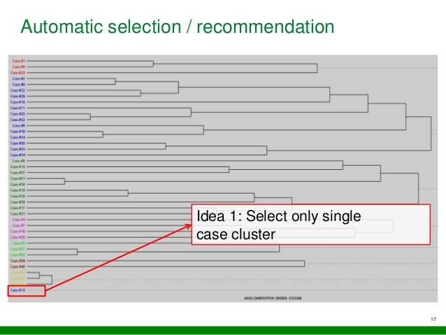 17 Automatic selection / recommendation Idea 1: Select only single case cluster