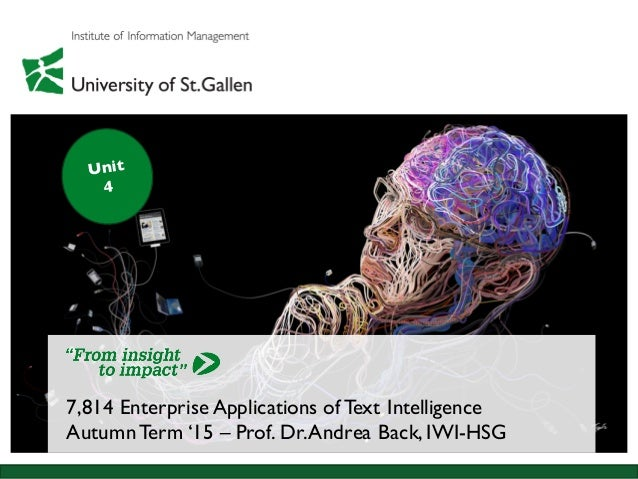 7,814 Enterprise Applications of Text Intelligence AutumnTerm '15 – Prof. Dr.Andrea Back, IWI-HSG