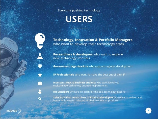 9 USERS 6 Technology, Innovation & Portfolio-Managers who want to develop their technology stack Investors, M&A & Business...