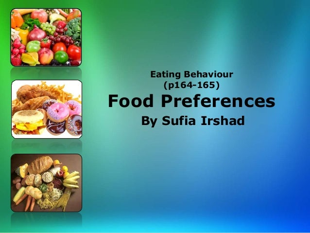 Eating Behaviour (p164-165) Food Preferences By Sufia Irshad