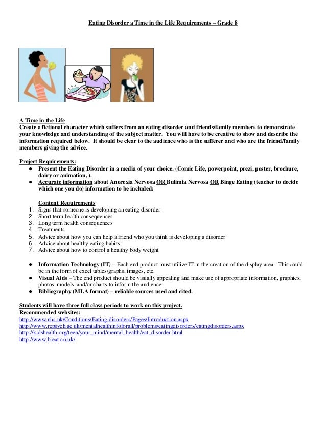 Eating Disorder a Time in the Life Requirements – Grade 8  A Time in the Life Create a fictional character which suffers f...