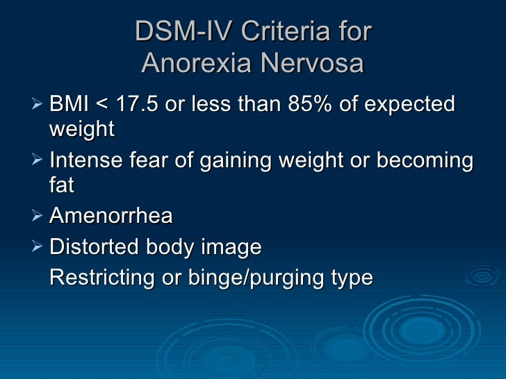 dsm iv criteria for anorexia nervosa Start studying eating disorders, somatoform disorders, and factitious learn vocabulary dsm-iv-tr diagnostic criteria for anorexia nervosa all of the criteria for anorexia nervosa are met except that.