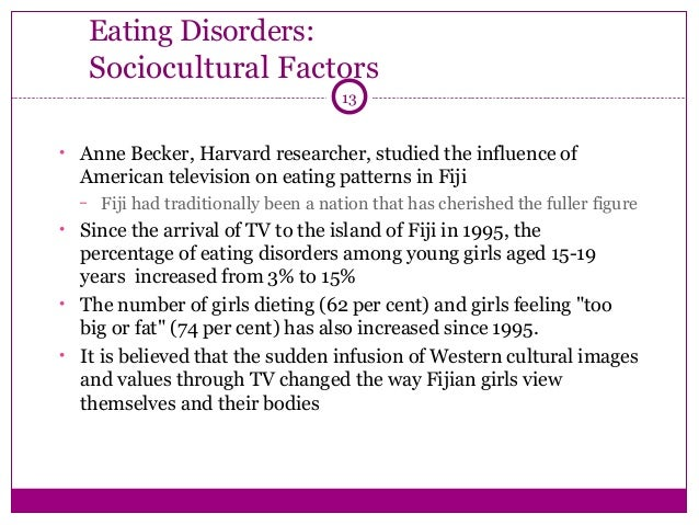 determining risk factors of eating disorders Anorexia nervosa, often referred to simply as anorexia, is an eating disorder  characterized by  eating disorders also increase a person's risk of death from a  wide range of other causes, including suicide  other psychological issues may  factor into anorexia nervosa some fulfill the criteria for a separate axis i  diagnosis or.
