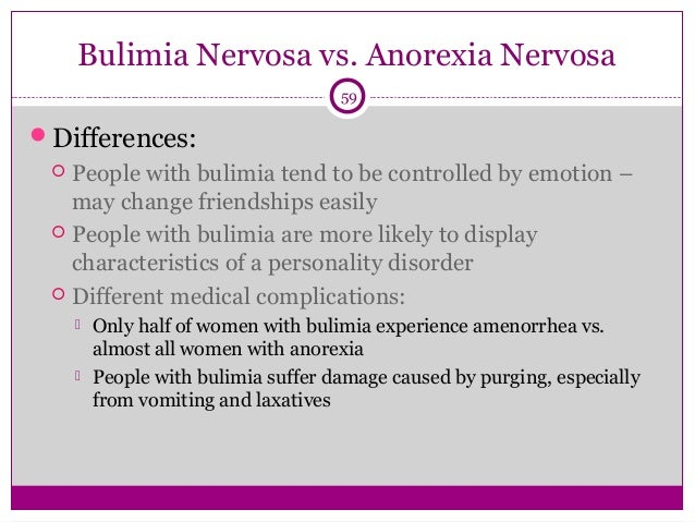 an introduction to the comparison of anorexia and bulimia Introduction to eating disorders - etiology, pathophysiology binge eating disorder and bulimia nervosa are both characterized by recurrent episodes of overeating.