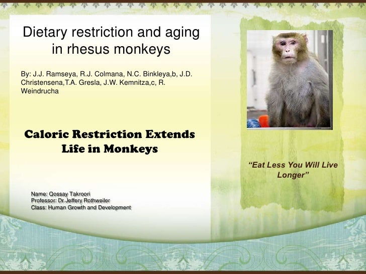 Dietary restriction and aging in rhesus monkeys<br />By: J.J. Ramseya, R.J. Colmana, N.C. Binkleya,b, J.D. Christensena,T....
