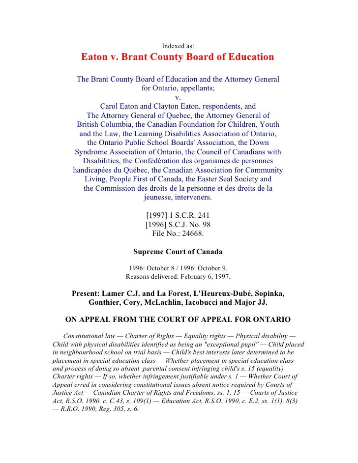 Indexed as:           Eaton v. Brant County Board of Education          The Brant County Board of Education and the Attorn...