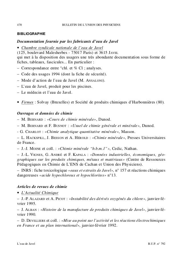 Eau de javel1 - Chambre syndicale nationale de l eau de javel ...