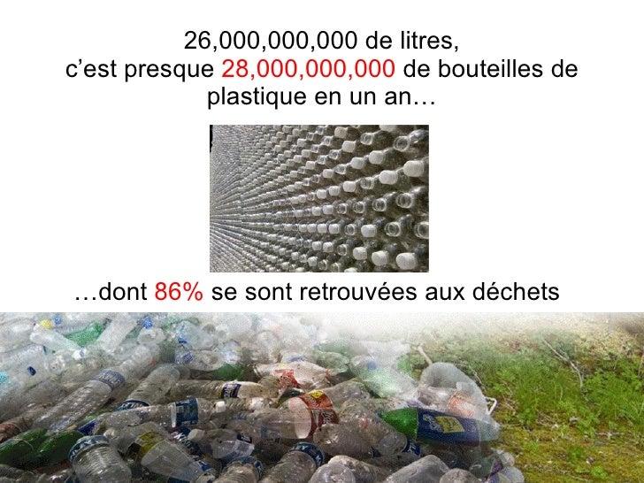 26,000,000,000 de litres, c'est presque  28,000,000,000  de bouteilles de plastique en un an… … dont  86%  se sont retrouv...