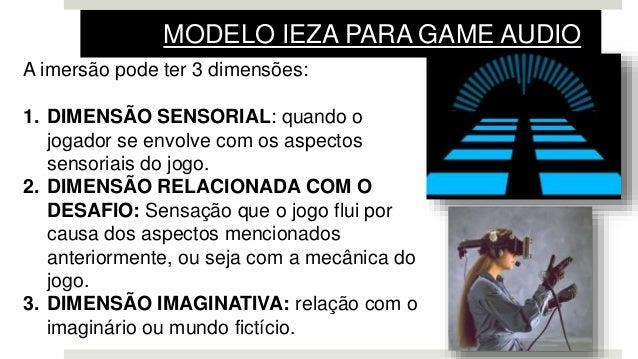 A imersão pode ter 3 dimensões: 1. DIMENSÃO SENSORIAL: quando o jogador se envolve com os aspectos sensoriais do jogo. 2. ...