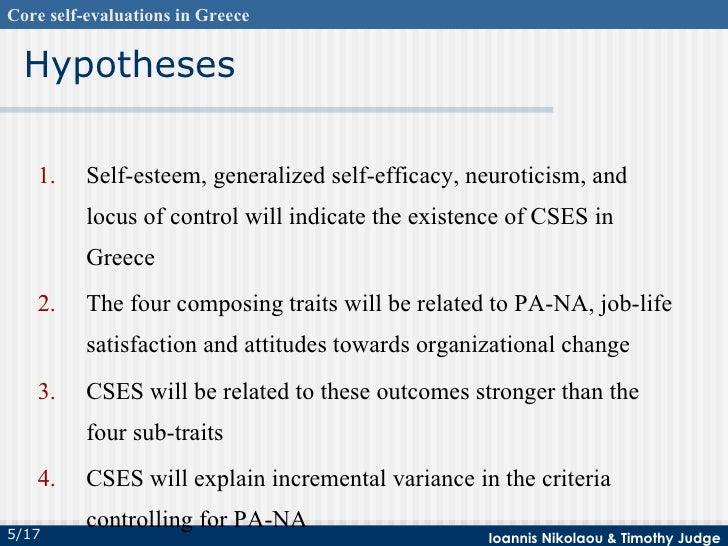 Core SelfEvaluations In Greece