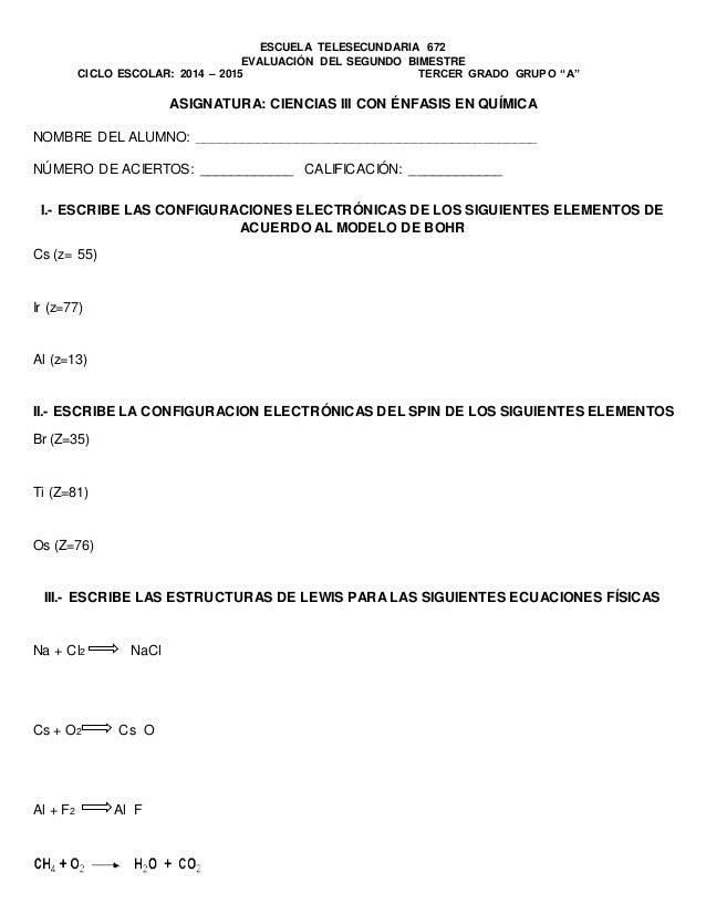 """ESCUELA TELESECUNDARIA 672  EVALUACIÓN DEL SEGUNDO BIMESTRE  CICLO ESCOLAR: 2014 – 2015 TERCER GRADO GRUPO """"A""""  ASIGNATURA..."""