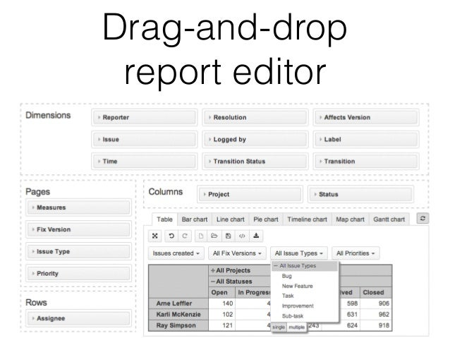 Drag-and-drop  report editor