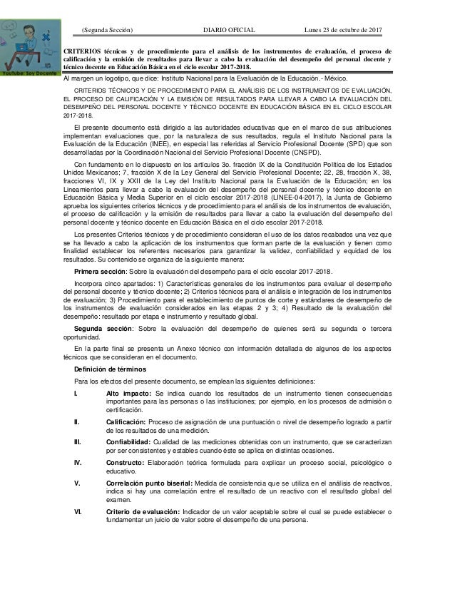 (Segunda Sección) DIARIO OFICIAL Lunes 23 de octubre de 2017 CRITERIOS técnicos y de procedimiento para el análisis de los...