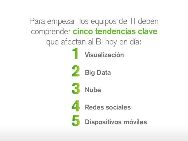 1 Visualización 2 Big Data 3 Nube 4 Redes sociales 5 Dispositivos móviles Para empezar, los equipos de TI deben comprender...