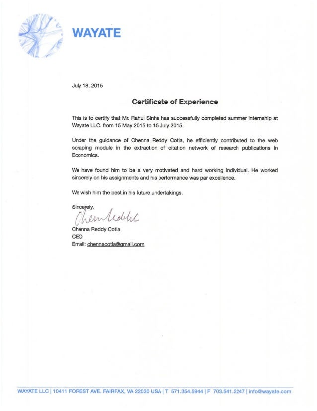 Experience Letter Oracle Experience Letter This Is To Certify That