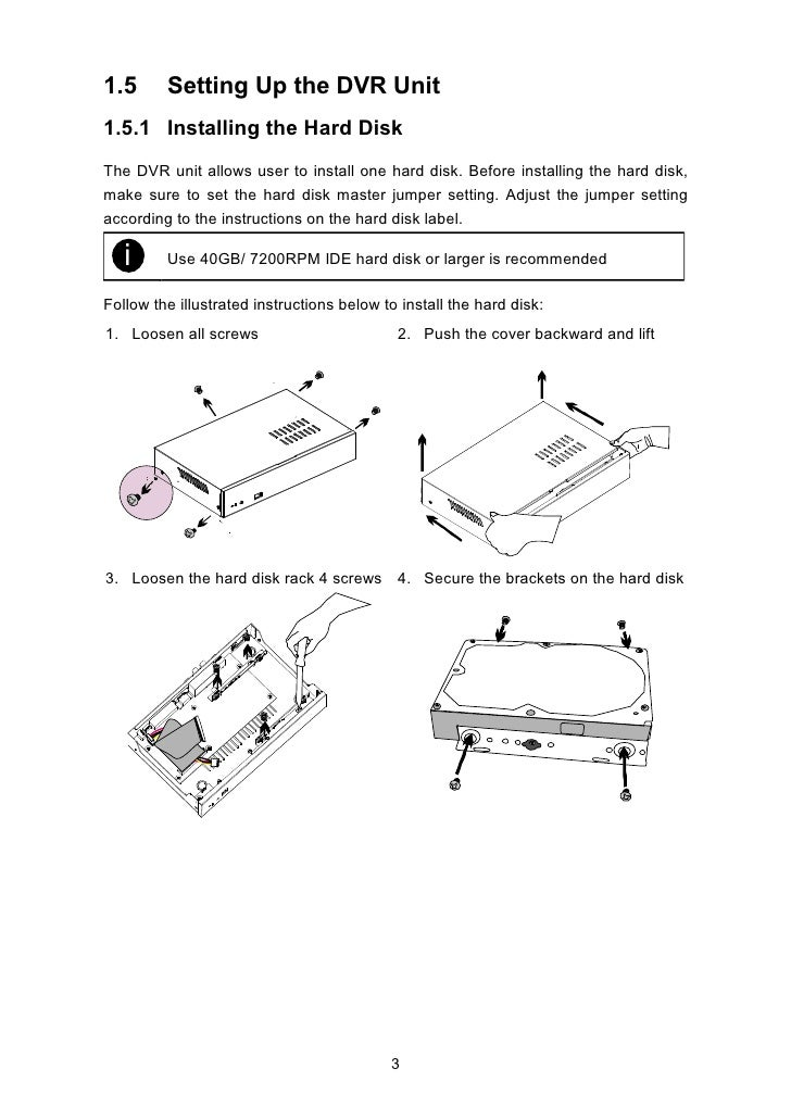 5. Connect the end of the IDE cable    6. Secure the hard disk inside the unit    and the power connector to the hard    t...
