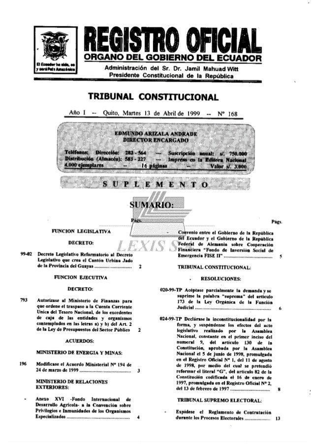 Sentencia del Tribunal Constitucional sobre reforma a Constitución del Ecuador  1998