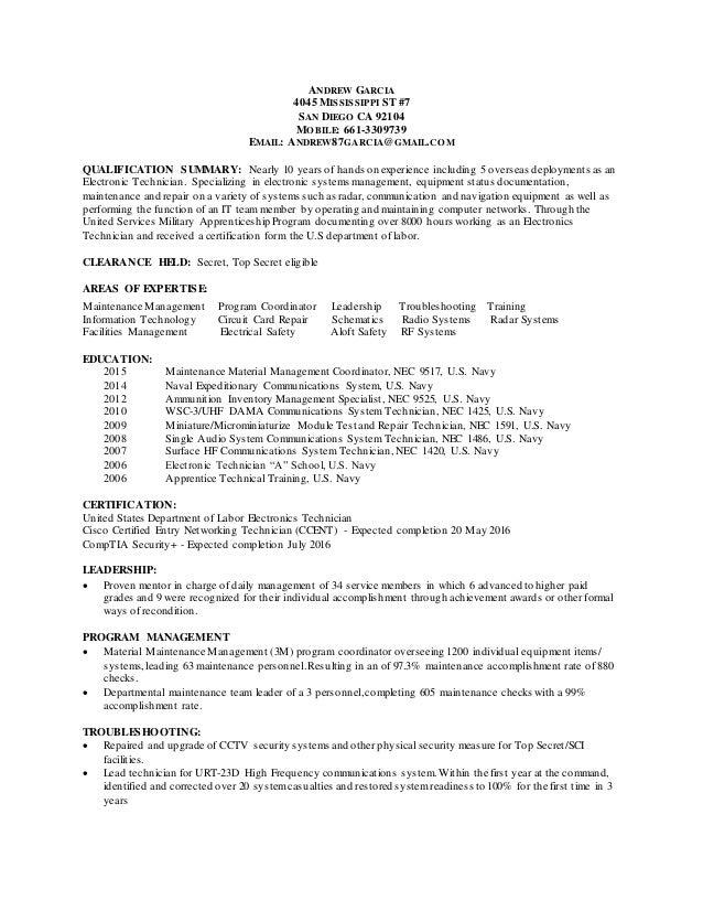 electronics technician resume samples