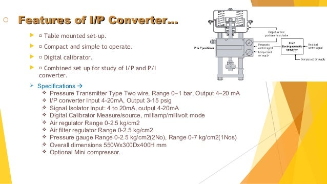 Operation of current to pneumatic signal converter youtube.