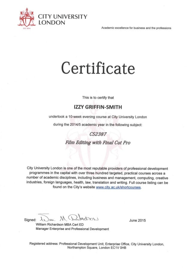 Final Cut Pro Certificate