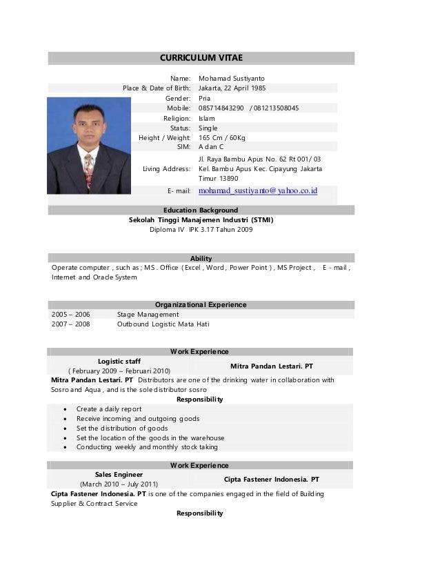 Curriculum Vitae Job S Application Mohamad Sustiyanto