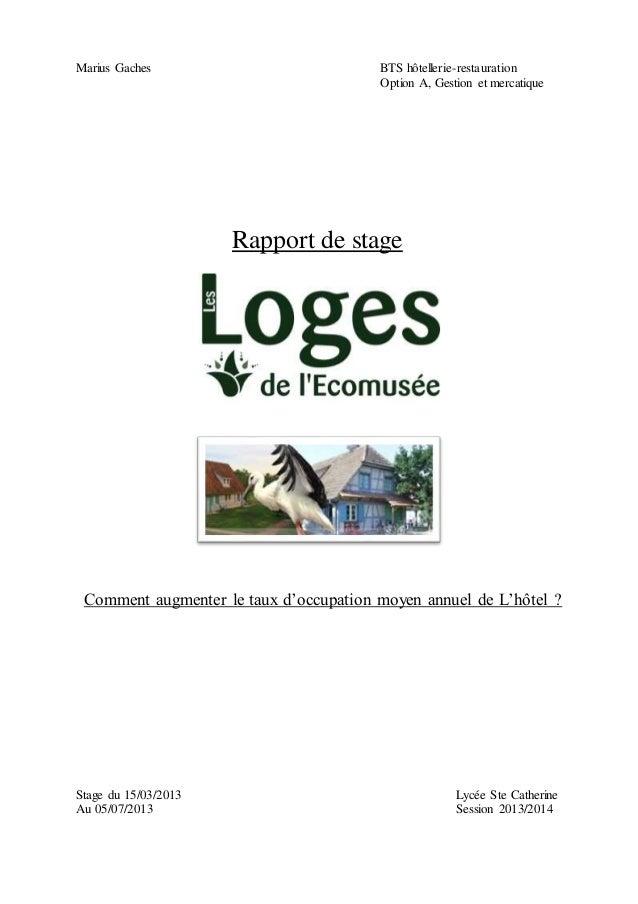 Marius Gaches BTS Hotellerie Restauration Option A Gestion Et Mercatique Comment Augmenter Le Taux