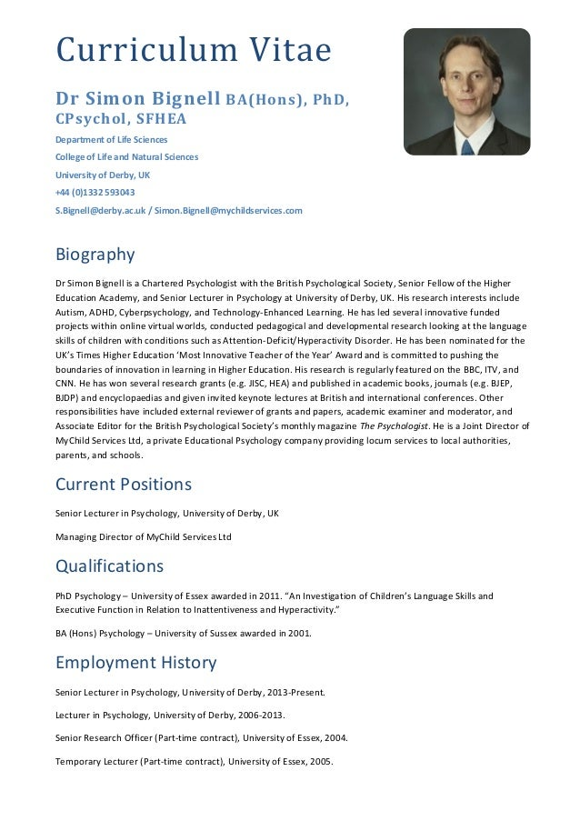 cv dr simon bignell june 2016