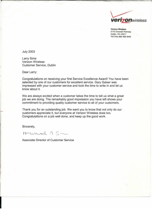 performance acknowledgement letter from upper management verizon wi