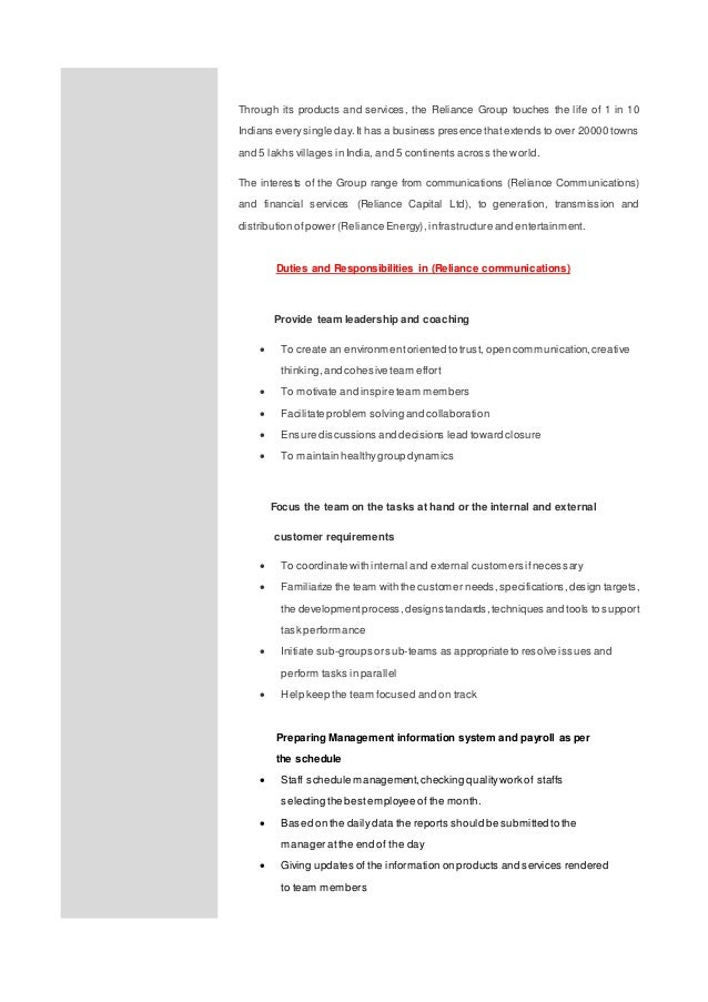 Enchanting Reliance Energy Resume Photo - Best Resume Examples by ...