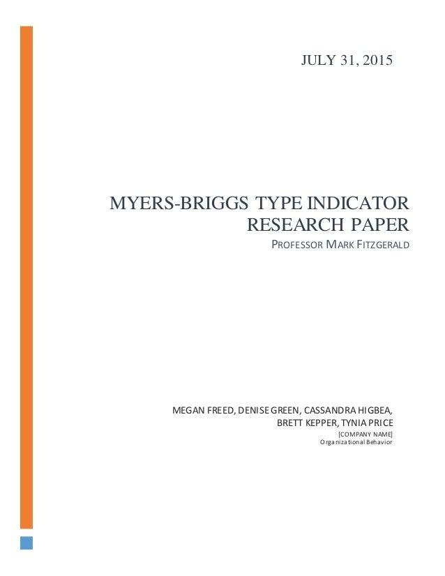 Using the myers briggs type indicator essay