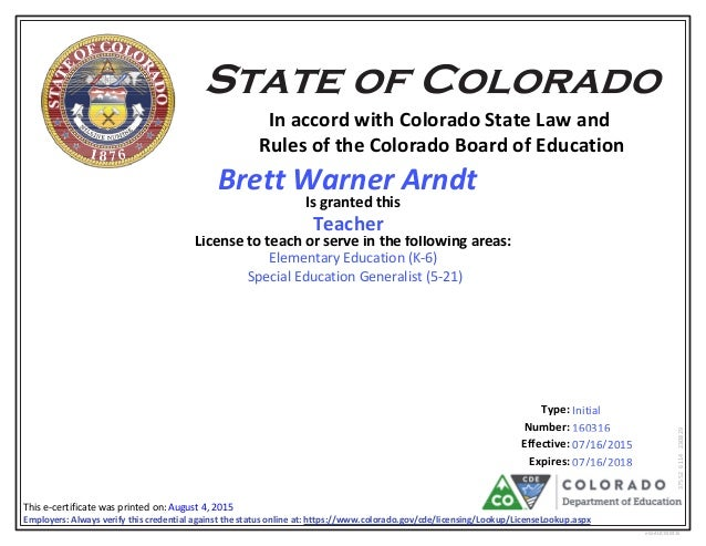 colorado teaching license