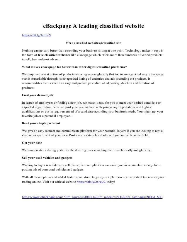 E Backpage A Leading Classified Website