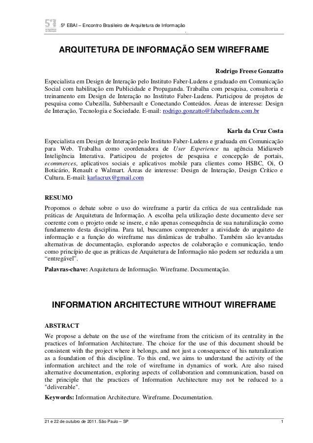 5º EBAI – Encontro Brasileiro de Arquitetura de Informação . 21 e 22 de outubro de 2011. São Paulo – SP 1 ARQUITETURA DE I...