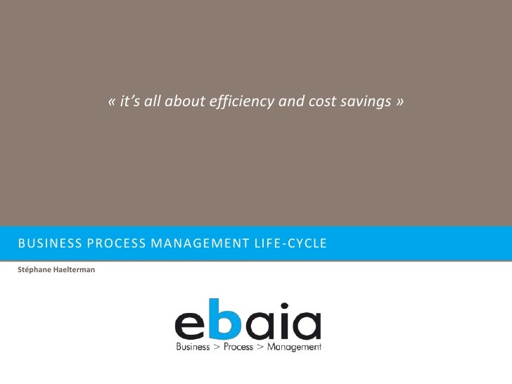« it's all about efficiency and cost savings »     BUSINESS PROCESS MANAGEMENT LIFE -CYCLE Stéphane Haelterman