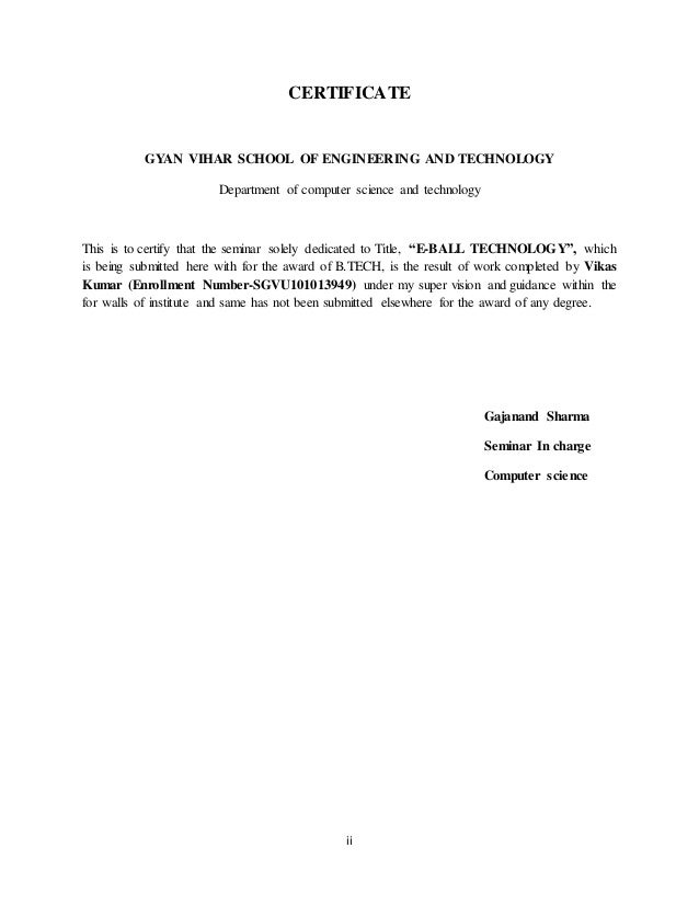 E ball technology seminar report certificate yadclub Images