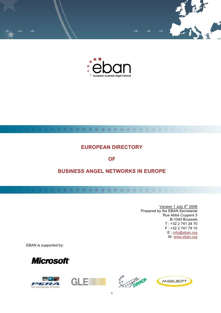 EUROPEAN BUSINESS ANGEL NETWORK - Directory of Network 2008     F                                      EUROPEAN DIRECTORY ...