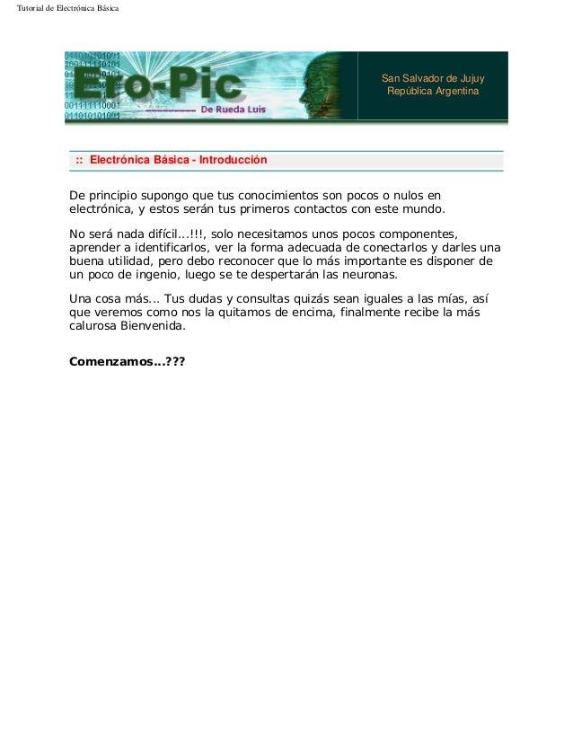 Tutorial de Electrónica Básica San Salvador de Jujuy República Argentina :: Electrónica Básica - Introducción De principio...
