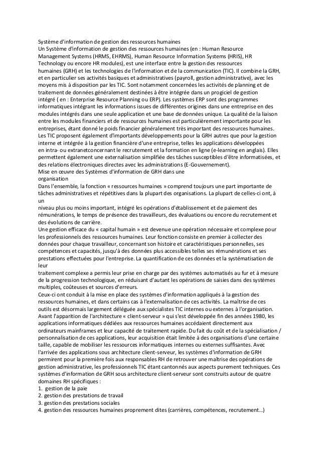 Système dinformation de gestion des ressources humainesUn Système dinformation de gestion des ressources humaines (en : Hu...