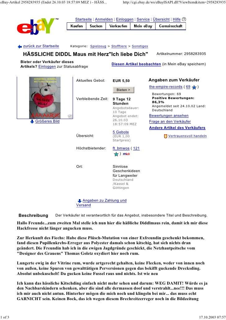 eBay-Artikel 2958283935 (Endet 26.10.03 18:57:09 MEZ ) - HÄSS...         http://cgi.ebay.de/ws/eBayISAPI.dll?ViewItem&item...