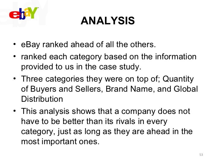 ebay global strategy analysis case study information technology essay The walt disney company: a corporate strategy analysis  this case study is brought to you for free and open access by the robins school of business at ur .