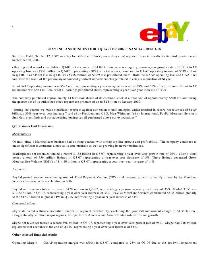 s                              eBAY INC. ANNOUNCES THIRD QUARTER 2007 FINANCIAL RESULTS  San Jose, Calif, October 17, 2007...