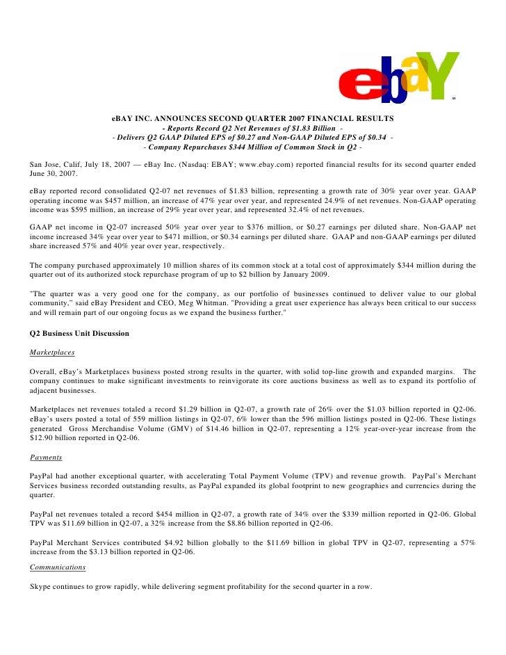 eBAY INC. ANNOUNCES SECOND QUARTER 2007 FINANCIAL RESULTS                                        - Reports Record Q2 Net R...