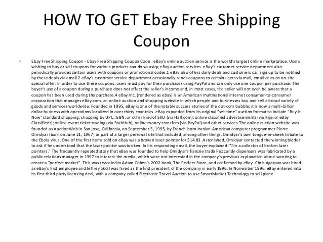 Ebay free discount coupons