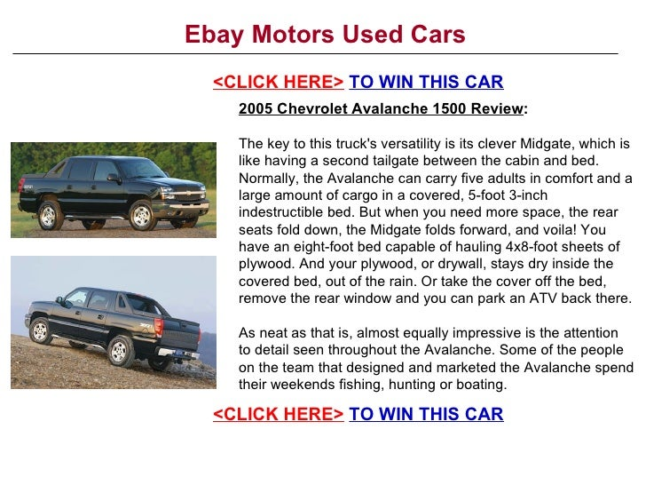 Ebay motors used cars for Ebay motors sell car