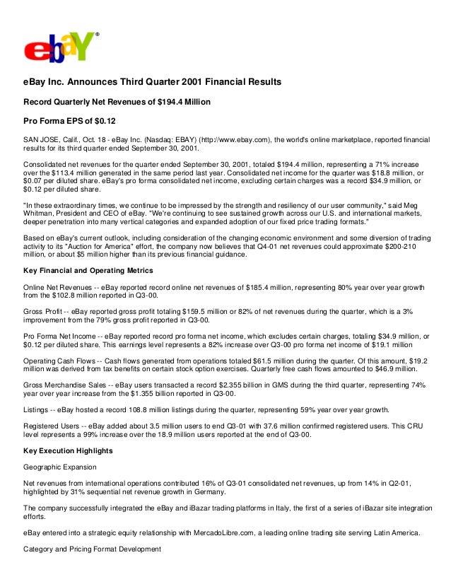 Ebay News 2001 10 18 Earnings